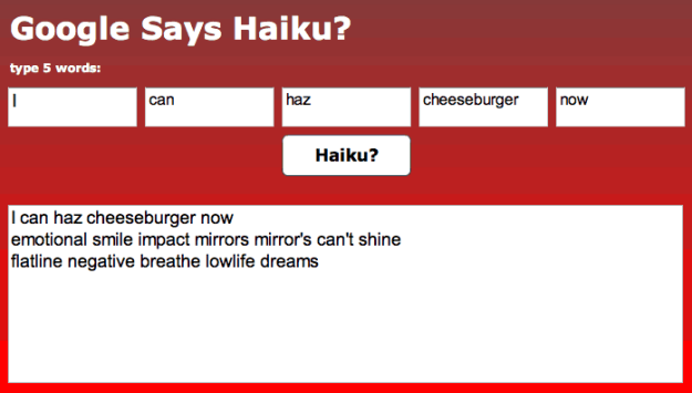 Google Sets Haiku Generator
