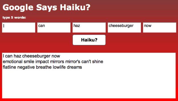 Google Sets Haiku Generator
